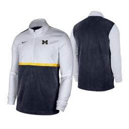 Michigan Wolverines White Navy Color Block Quarter-Zip Jacket