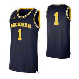Michigan Wolverines #1 Limited Authentic College Basketball Jersey Navy