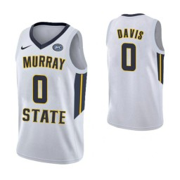 Women's Murray State Racers #0 Mike Davis Authentic College Basketball Jersey White