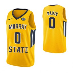 Women's Murray State Racers #0 Mike Davis Authentic College Basketball Jersey Yellow
