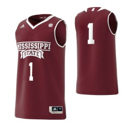 Youth Mississippi State Bulldogs #1 Basketball Adidas Authentic College Basketball Jersey Maroon