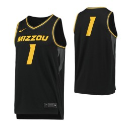 Missouri Tigers #1 Authentic College Basketball Jersey Black