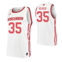 Nate Reuvers Authentic College Basketball Jersey White Wisconsin Badgers