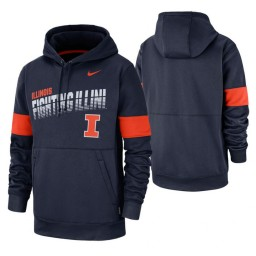 Illinois Fighting Illini Navy Sideline Wordmark & Logo Performance Hoodie