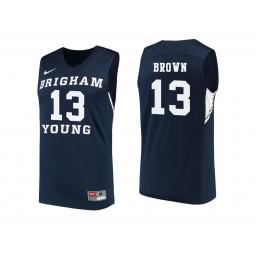 Women's BYU Cougars #13 Kajon Brown Authentic College Basketball Jersey Navy