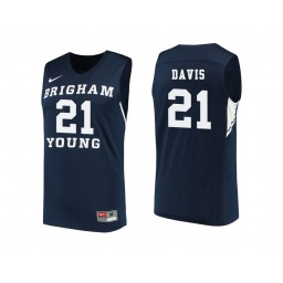 Women's BYU Cougars #21 Kyle Davis Authentic College Basketball Jersey Navy