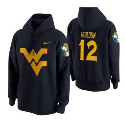 West Virginia Mountaineers #12 Andrew Gordon Men's Navy College Basketball Hoodie