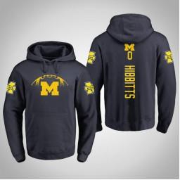 Michigan Wolverines #0 Brent Hibbitts Men's Navy Pullover Hoodie