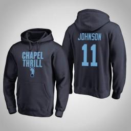 North Carolina Tar Heels #11 Brice Johnson Men's Navy Pullover Hoodie