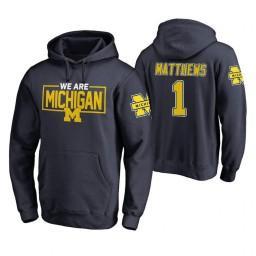 Michigan Wolverines #1 Charles Matthews Men's Navy College Basketball Hoodie