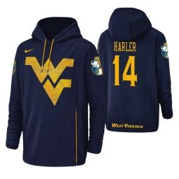 West Virginia Mountaineers #14 Chase Harler Men's Navy College Basketball Hoodie