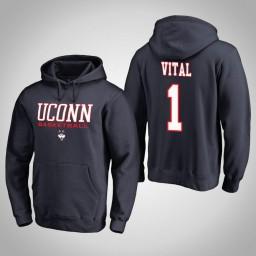 Uconn Huskies #1 Christian Vital Men's Navy College Basketball Hoodie