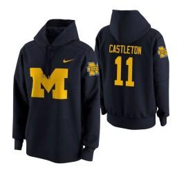 Michigan Wolverines #11 Colin Castleton Men's Navy College Basketball Hoodie