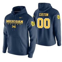 Michigan Wolverines #00 Custom Men's Navy College Basketball Hoodie