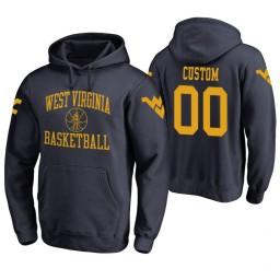 West Virginia Mountaineers #00 Custom Men's Navy College Basketball Hoodie