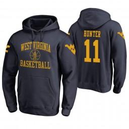 West Virginia Mountaineers #11 D'Angelo Hunter Men's Navy College Basketball Hoodie