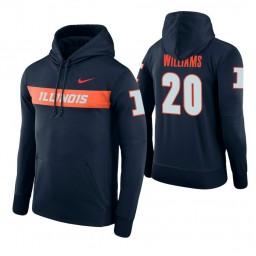 Illinois Fighting Illini #20 Da'Monte Williams Men's Navy Pullover Hoodie