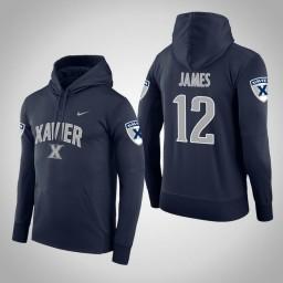 Xavier Musketeers #12 Dontarius James Men's Navy College Basketball Hoodie
