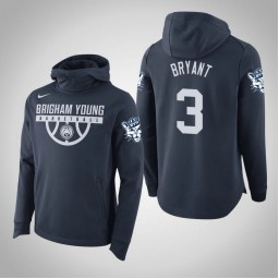 BYU Cougars #3 Elijah Bryant Men's Navy College Basketball Hoodie