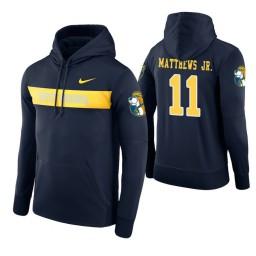 West Virginia Mountaineers #11 Emmitt Matthews Jr. Men's Navy Pullover Hoodie