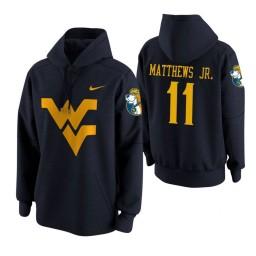 West Virginia Mountaineers #11 Emmitt Matthews Jr. Men's Navy College Basketball Hoodie