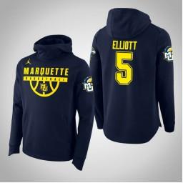 Marquette Golden Eagles #5 Greg Elliott Men's Navy College Basketball Hoodie