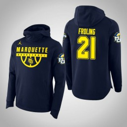 Marquette Golden Eagles #21 Harry Froling Men's Navy College Basketball Hoodie