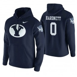 BYU Cougars #0 Jahshire Hardnett Men's Navy College Basketball Hoodie