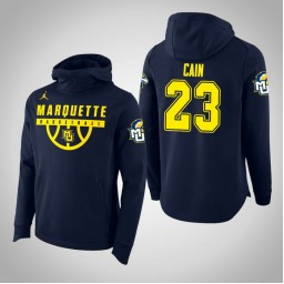 Marquette Golden Eagles #23 Jamal Cain Men's Navy College Basketball Hoodie
