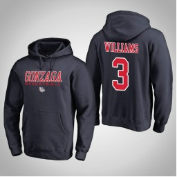 Gonzaga Bulldogs #3 Johnathan Williams Men's Navy College Basketball Hoodie