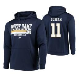 Notre Dame Fighting Irish #11 Juwan Durham Men's Navy College Basketball Hoodie