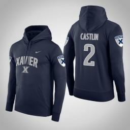 Xavier Musketeers #2 Kyle Castlin Men's Navy College Basketball Hoodie
