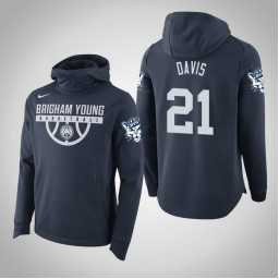 BYU Cougars #21 Kyle Davis Men's Navy College Basketball Hoodie