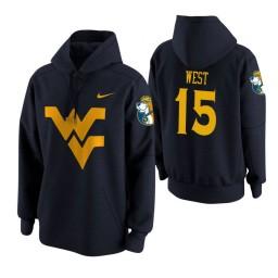 West Virginia Mountaineers #15 Lamont West Men's Navy College Basketball Hoodie