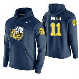Michigan Wolverines #11 Luke Wilson Men's Navy College Basketball Hoodie