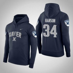 Xavier Musketeers #34 Myles Hanson Men's Navy College Basketball Hoodie