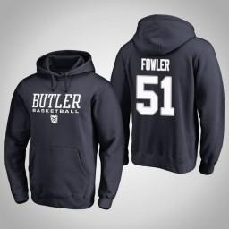 Butler Bulldogs #51 Nate Fowler Men's Navy College Basketball Hoodie