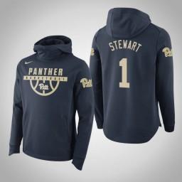 Pittsburgh Panthers #1 Parker Stewart Men's Navy College Basketball Hoodie