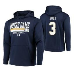Notre Dame Fighting Irish #3 Prentiss Hubb Men's Navy College Basketball Hoodie