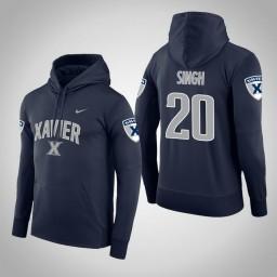 Xavier Musketeers #20 Ramon Singh Men's Navy College Basketball Hoodie