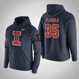 Illinois Fighting Illini #35 Samson Oladimeji Men's Navy College Basketball Hoodie