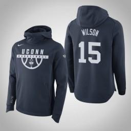 Uconn Huskies #15 Sidney Wilson Men's Navy College Basketball Hoodie