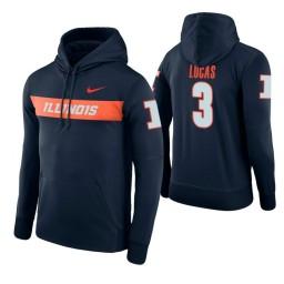 Illinois Fighting Illini #3 Te'Jon Lucas Men's Navy Pullover Hoodie