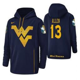 West Virginia Mountaineers #13 Teddy Allen Men's Navy College Basketball Hoodie