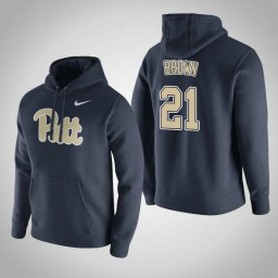 Pittsburgh Panthers #21 Terrell Brown Men's Navy Pullover Hoodie
