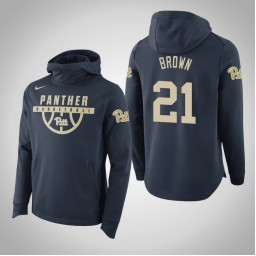 Pittsburgh Panthers #21 Terrell Brown Men's Navy College Basketball Hoodie