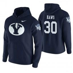 BYU Cougars #30 TJ Haws Men's Navy College Basketball Hoodie
