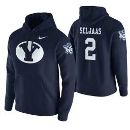 BYU Cougars #2 Zac Seljaas Men's Navy College Basketball Hoodie