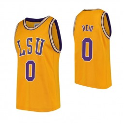 LSU Tigers #0 Naz Reid Gold Authentic College Basketball Jersey