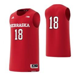 Nebraska Cornhuskers #18 Basketball Adidas Authentic College Basketball Jersey Scarlet